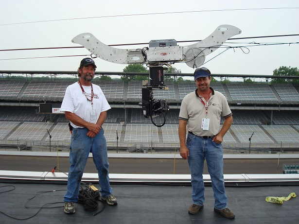 Heres those Highline Dolly Wheels in use on a Cablecam dolly at the Indianapolis 500.  The Highline was over 1/4 mile long!  Matt on the left, Jim Rodnunsky, one of the founders of Cablecam, on the right