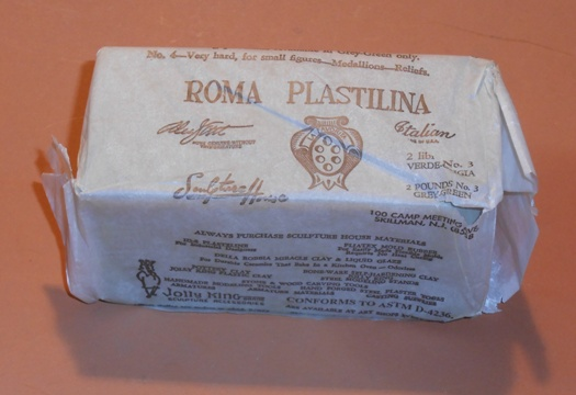 2 pound block of Roma Plastilina Modeling Clay.  This has been used by special Effects people for years to back up and direct the force of pyrotechnic squibs.  Hard at room temperature, when heated is easy to mould.  Want to have a flat squib blow a hole through balsa wood?  Tamp it with a wad of plastilina and the force of the squib will be directed through the breakaway.  Kind of Old School, but it is a useful tool.