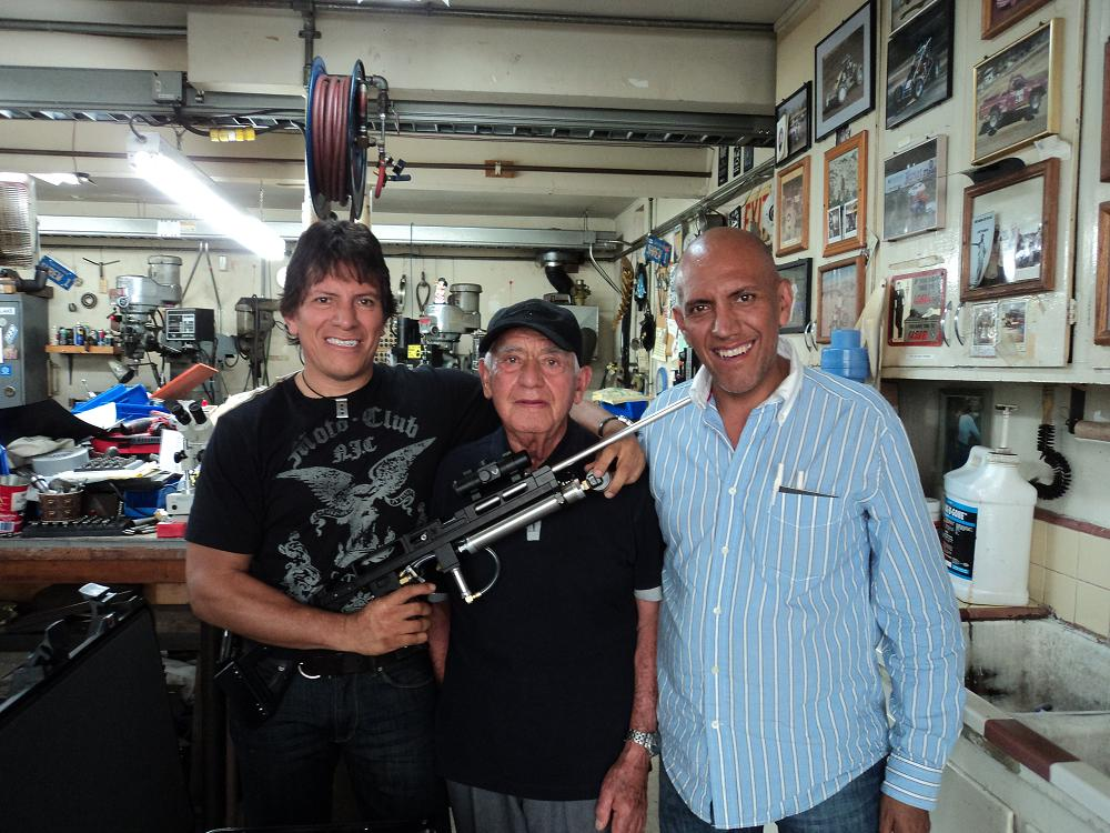 Alesandro Vazquez, his father, and brother Alberto Vazquez with a blood capsule gun.  These third generation Special Effects supervisors work out of Mexico City.  We all had a great time shooting each other with blood capsules.