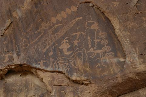 Here are some of the petroglyphs at 3 Fingers pecked into the rock by the ancient Native Americans.