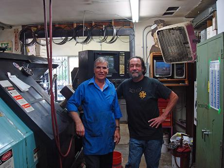 Andy Baluchi from Uptime Electronics and Matt.  Uptime has a bunch of very smart and knowledgeable guys who can fix anything.  Andy came in to troubleshoot  a problem with our giant Warner-Swasey lathe.