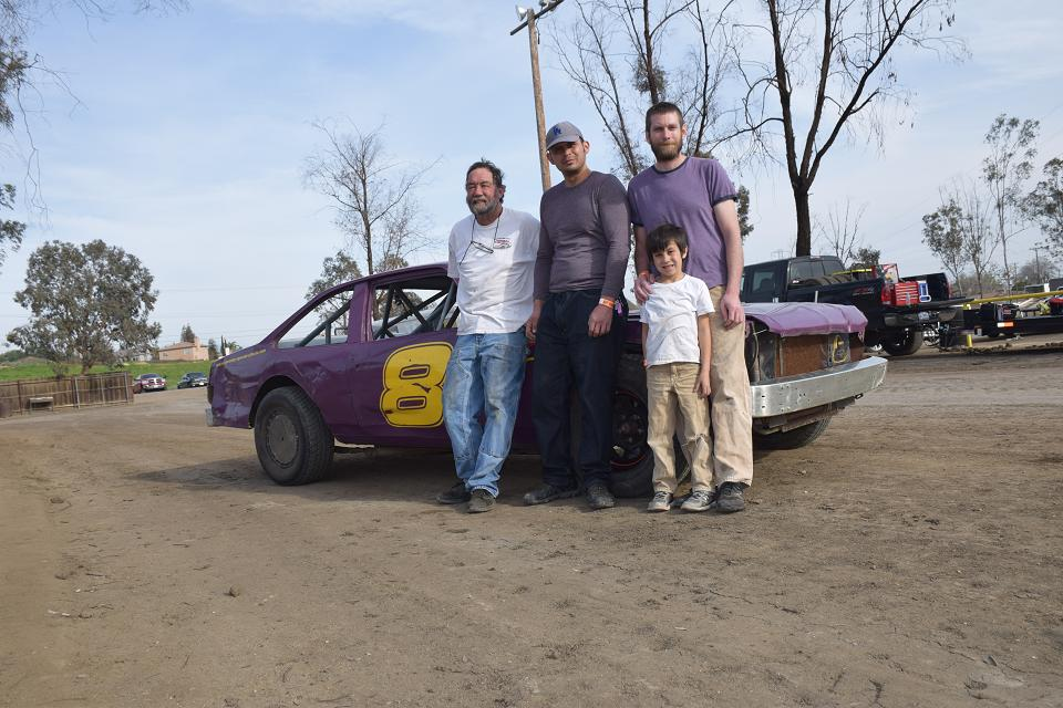 Matt is back racing Hobby Stocks again.  1st race of the season at the Bakersfield Speedway 1/3 mile high banked dirt oval.  L to R: Matt, Frank Benitez, Silent Mike McCooey, Henry McCooey