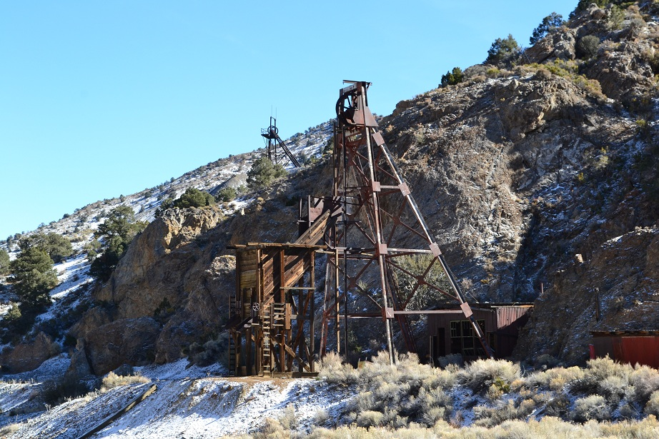 Mining headframes at the ghost town of Tybo, deep into central Nevada.  11-11-12