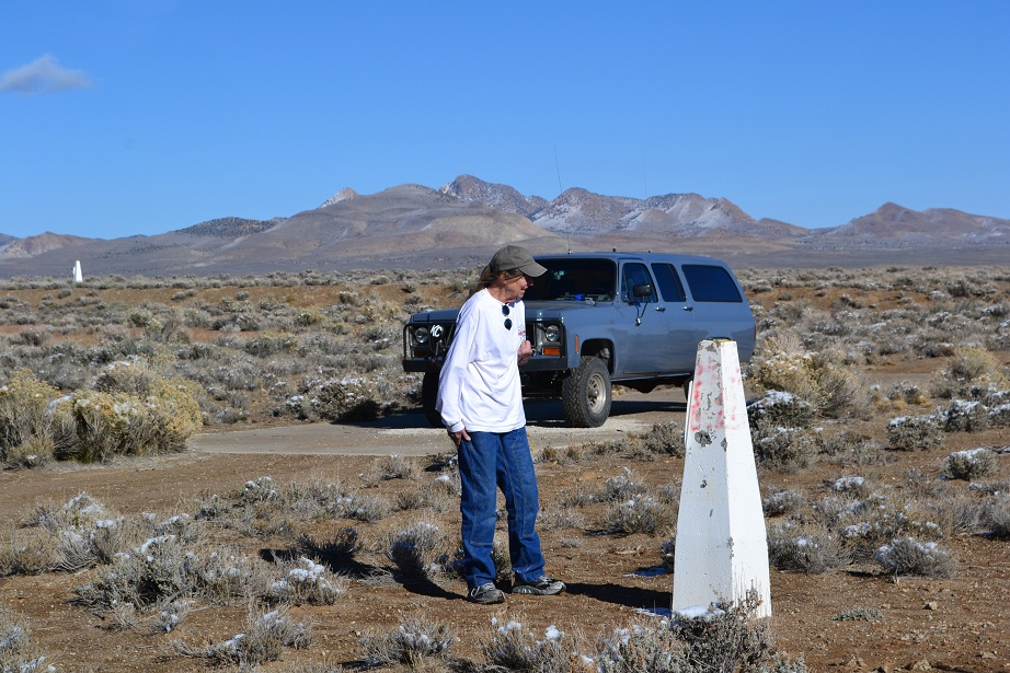 LuLu inspects a benchmark, with the newly painted Suburban in the background.   11-11-12