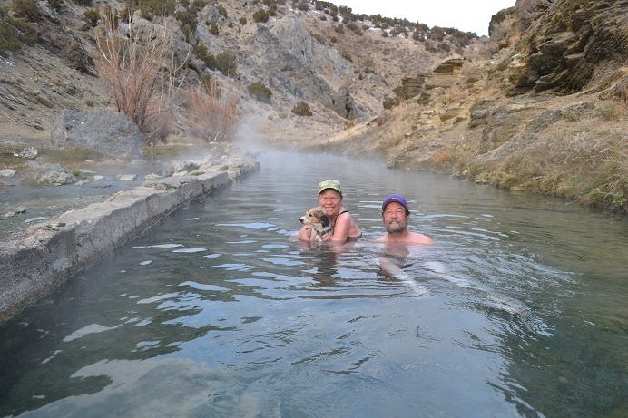 We soak in 12 Mile Spring in Bishop Creek Canyon.  This was a stop on the California Emigrant Trail in the 1850s.  One of our favorite Hot Springs. Water Temperature is 104 Fahrenheit.  11-12-12