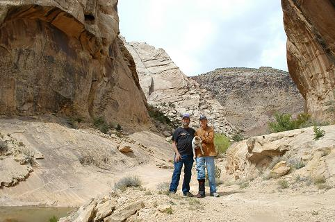 Here we are at the 3 Fingers site in Utah.  The petroglyphs are on the camera right canyon wall behind us.