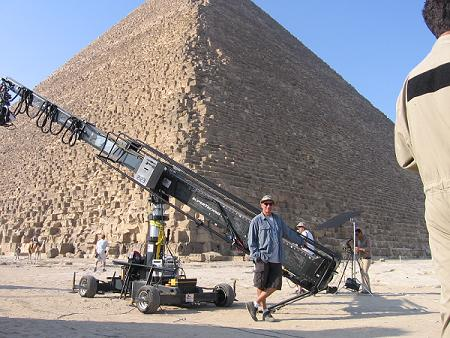 Here is our old friend, Steve Welch, Grip Extrordinaire and Technocrane operator at the Pyramids in Egypt.