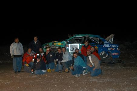 After we stopped Pro-Rally racing as competitors, we continued on as officials.  Here we are as part of a retrieval crew.